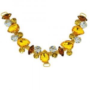Cabedal Manu, Passante, Dourado/Marrom/Cristal