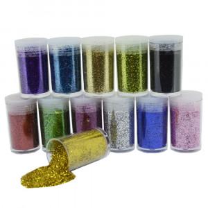 Glitter em Pó, Kit com 12 Cores, 5g