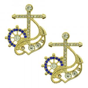 Piercing de Rebite, Âncora e Leme, Ouro, Azul/Cristal