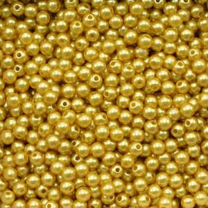 Pérola ABS, 04mm, Amarelo Dourado