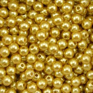 Pérola ABS, 06mm, Amarelo Dourado