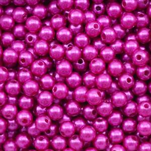 Pérola ABS, 06mm, Rosa Pink