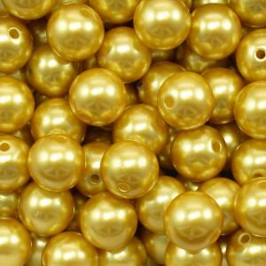 Pérola ABS, 12mm, Amarelo Dourado