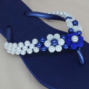 Trama de Pérolas Gérbera, Branco/Azul Royal