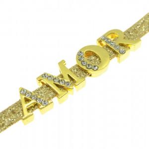 Passante, Letra com Strass, Ouro, Cristal
