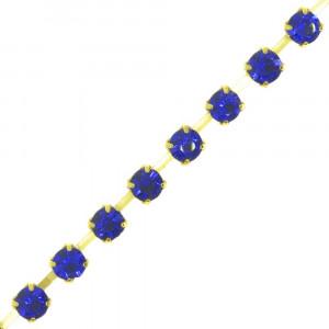 Fio de Strass, SS12, Ouro, Strass Azul Cobalt